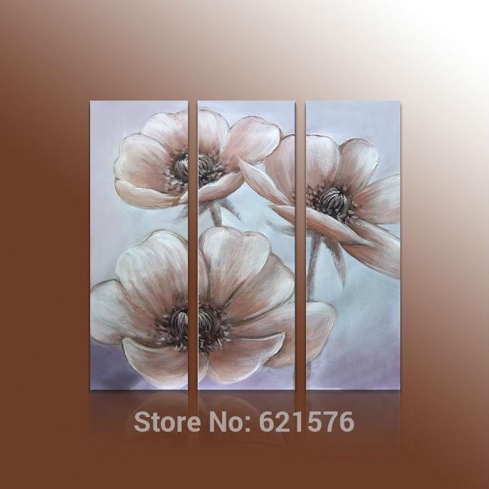 Pintado à mão modern arte imagem para sala de estar de casamento decor pintura a óleo sobre tela abstrato branco marrom flor da papoila de milho(China (Mainland))