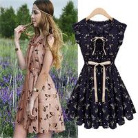 2014 Newest European Start Design Slim Fashion Women Sleeveless Animal Printed Vintage color Chiffon Casual Novelty Dress
