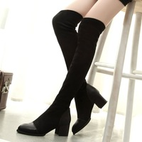 Knee High Tight Boots For Women Winter Autumn 2014 Stretch Fabric Fashion Pointed Toe Middle Heel Sexy Comfortable Ladies Shoes