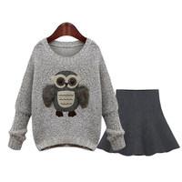 European New Fashion 2014 Winter Women's Casual Sweater Dress Sets Work wear Office Lady Dress Pullover Sweater Owl Women Suit