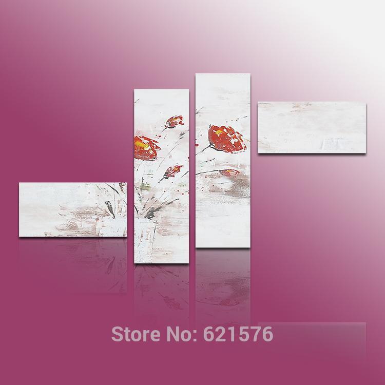 Pintado à mão modern arte imagem sala de estar de casamento home decor pintura a óleo sobre tela abstrato respingo de tinta flor da papoila de milho(China (Mainland))
