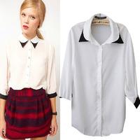 2014 autumn and winter women's three quarter camisas femininas casual chiffon blouse shirt