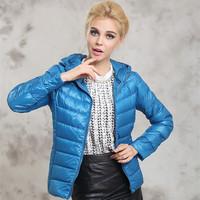 2014 new ultra-thin hooded down jacket women short paragraph Slim Big yards short paragraph portable casual jacket