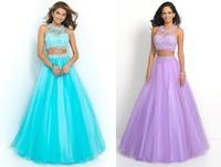 New Designs 2015 Popular O Neck Applique Beaded vestidos de festa A Line Tulle Formal Long Two Piece Prom Dresses 2014