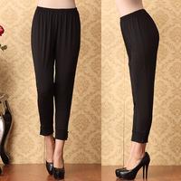 Spring and summer ankle length trousers loose comfortable elastic legging black slim skinny pants casual pants