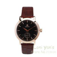 Fashion Orkina Rose Gold Case Black Dial Watch Man Women Quartz Watches Leather Unisex Watch Wristwatch Free Ship
