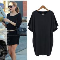 2014 new Autumn American style women's hight quality Temperament  bat sleeve black color  flounced dress Bag Hip Dress L-4XL