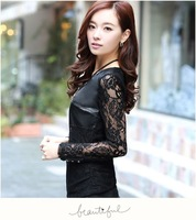 wholesale autumn new style PU leather patchwork lace T shirt long sleeve hollow out slim tops + necklace M-3XL size