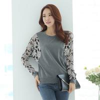 2014 autumn clothing plus size lace patchwork long-sleeve basic shirt female casual loose t-shirt