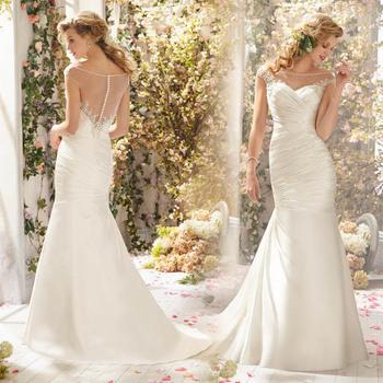 Русалка свадебное платье с плеча длиной до пола невесты платья 2014 Vestido осень зима элегантный классическая