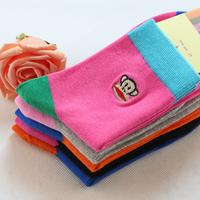 5 pairs of socks socks cotton lovely autumn lady in tube socks mouth monkey hit color socks wholesale
