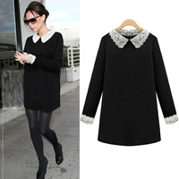 2014 newest fashion Autumn and winter  women's hot plus size lace collar long-sleeved silm dress M-5XL