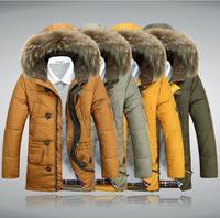 2014 New Long 90% Down Mens Winter Jackets Thick Warm Fur Collar Down & Parkas Men