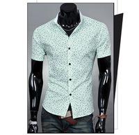 2014 New Mens Short Sleeve Dress Shirts Men Fashion Button Designer Patchwork Casual Camisa Slim Fit Men's Social Shirts RY26