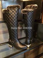 Free Shipping Fashion Genuine leather Women Winter Boots  Fur Inside