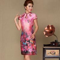 Women's cheongsam one-piece dress vintage plus size quinquagenarian cheongsam summer wedding formal dress cheongsam dress