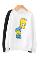 HOT! 2014 Winter Lovers Cute Cartoon Simpson Print Long Sleeve Loose Thicken Fleece Sweatshirts Couples Pullovers Y-1192