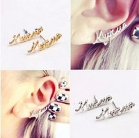 Free Shipping 2014 New Arrived Promotion Style Fashion Accessories Personalized Letter Earrings C26R7C (Hot Selling)