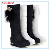 ENMAYER Winter new 2015 snow Boots for women Round Toe wedges Med women Shoes winter boots platform Feathers sweet girl boots