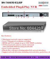 Free DHL/EMS Original Hikvision NVR Embedded Plug&Play NVR DS-7604NI-E1/4P and DS-7608NI-E2/8P and DS-7616NI-E2/8P 8POE Ports