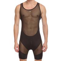 2014 sexy Men's Fitness Conjoined Vest mesh Transparent Gym Body Shaper Men Underwear Mens Bodysuits