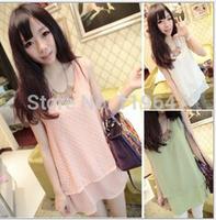 Retail,2014 Summer Fashion Sleeeveless Chiffon flocking long Vest Women's Clothing T-shirt blouses 218