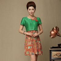 Large women's silk short-sleeve loose print mulberry silk mother clothing 40 women's summer one-piece dress