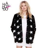 Cute star pattern thickening imitation fur coat sweet fluffy coat haoduoyi