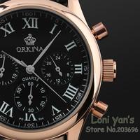 Orkina Men Rose Gold 6 Hands Man Dress Quartz Sport Men's Watch Mens Wirst Watches Free Ship