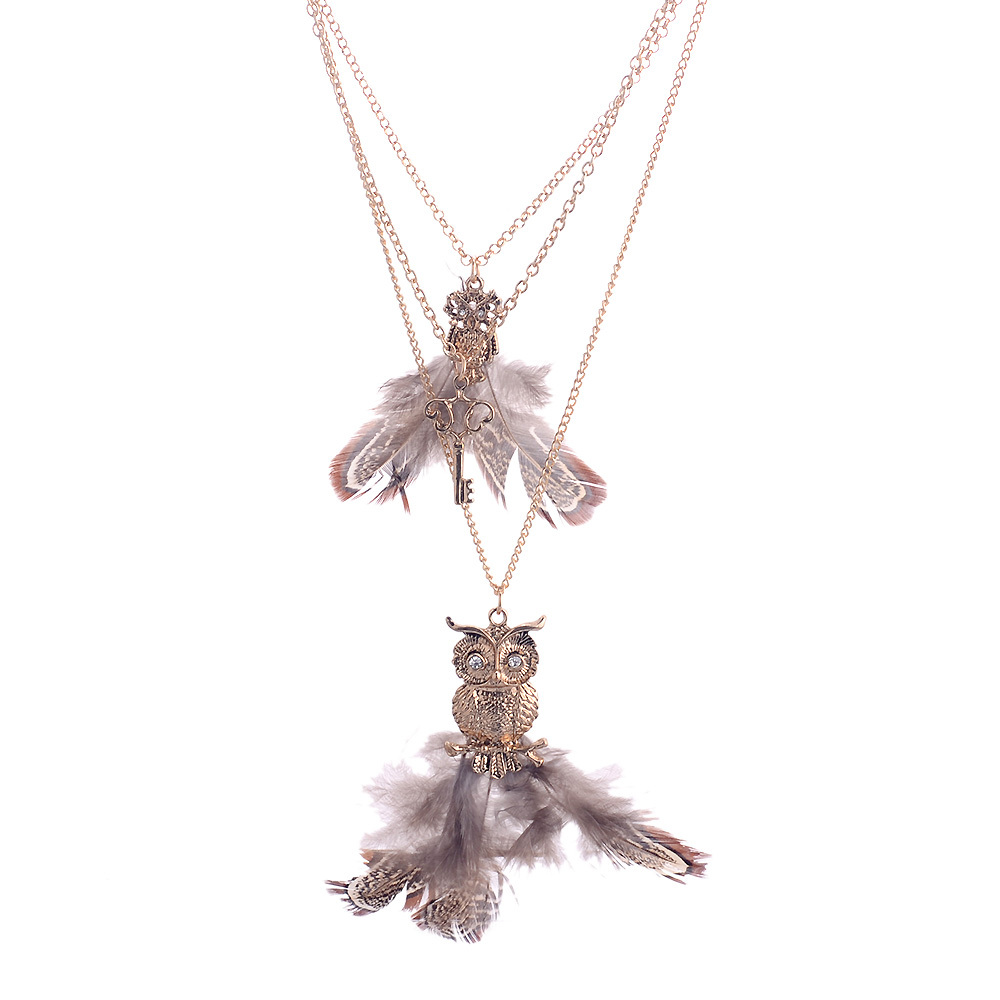 Lureme New Arrival Euro American Vintage Style Owl And Key Pendant Drill Necklace Sweater Chain for