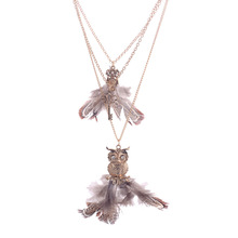 Lureme New Arrival Euro-American Vintage Style Owl And Key Pendant Drill Necklace Sweater Chain for women fashion jewlery