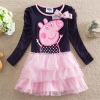 Peppa Pig  2014 Spring New Kids Pepe swine Puff Girls Cake Dress chinldren's clothing kids baby H2669