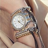 Christmas promotional products Brand Metal Ball Bead Flexible Leather Bracelets & Bangles Luxury Kors Women