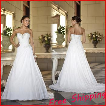 На складе дешевые шифон пляж китай бальное платье элегантный спинки свадебное платье Большой размер 2015 А линии свадебные платья 2014