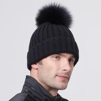 Winter 100% Real Natural Fox And Raccoon Fur Hats For Men Knitting Wool Skullies Black Women's Beanies Casual Caps Zhenskaya