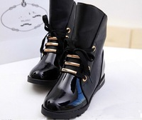 New Women Boots European Fashion Women Shoes Flat Front Lace Paint Leather Boots Motorcycle Over Ankle Winter Boots 2014