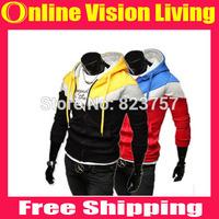 Free Ship New 2014 Fashion Men's Hoodies Autumn Winter Sports Casual Men's Sweatshirts Zipper hood sport jacket men's coat A0624