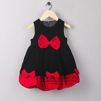 2014 Christmas Baby Girl Dress Black And Red Bow Cotton Dress Birthday Party Clothes Kids Wear GD41015-34