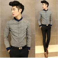 Free shipping 2014 fashion high quality men reality show long-sleeved shirt, Slim fit shirt men