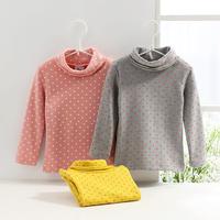 2014 autumn polka dot turtleneck girls clothing baby child long-sleeve T-shirt tx0602 basic shirt