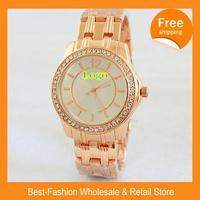 Free Shipping 2014 Luxury Brand Design Women Fashion Men And Women Clothing Dress Rhinestone Watch Quartz Watch+Drop shipping