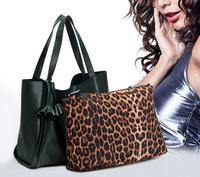Fashion Famous Desigual Brand 100% Big Genuine Leather Bag Casual One Shoulder Bags Leopard Print Women Handbag with Flowers