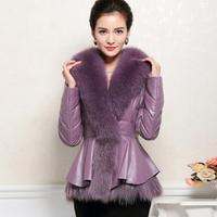 2014 Winer New Luxury Sheep Leather Down Jacket Celebrity  Women's Fox Fur Collar Plus  Size XXXL Slim Short Party Down Coat