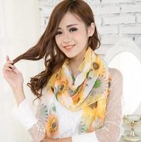 Colorful wild flowers long velvet chiffon silk scarf