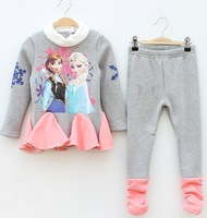 New Autumn Children's Frozen Long sleeve warm T-shirts + Leggings Anna Elsa printing clothes Girls cartoon clothing Set