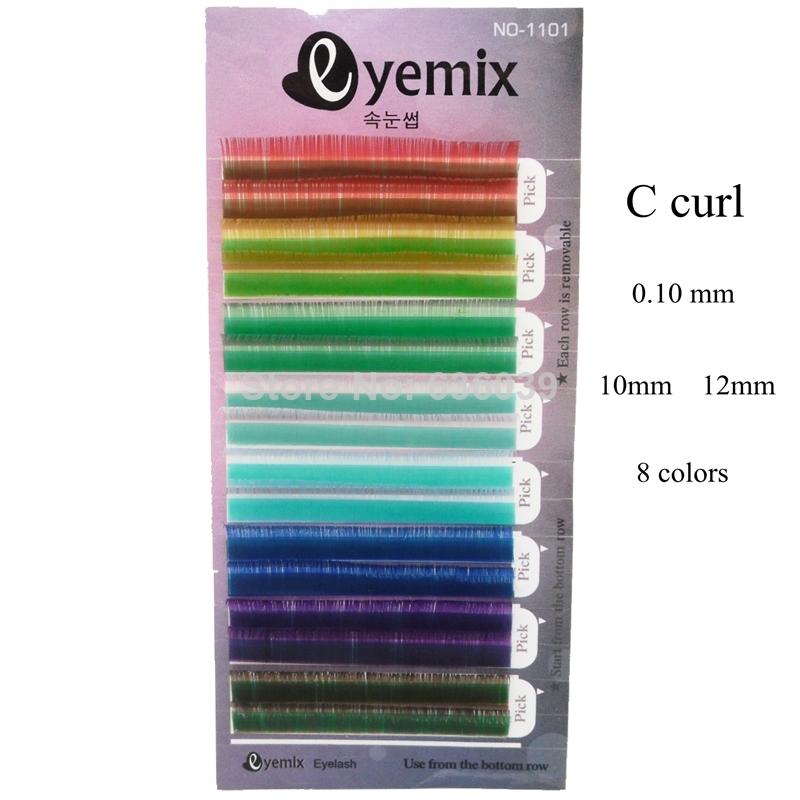 Eyemix C curl Rainbow Colorful Eyelashes 8 Colors Eyelash Extension 10mm 12mm Inidividaul False Eyelashes Freeshipping(China (Mainland))