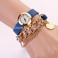Hot !!!  vintage leather strap watches, Chain rivet bracelet women dress watch, women wristwatch free shipping PL129