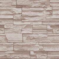 56 Square Feet / 10M Roll Modern Simple Style 3D Realistic Real Look Bricks Stones Beige TV/Sofa Background Vinyl Wallpaper