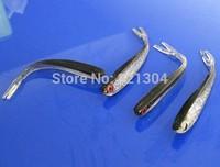 100pcs/lot 100mm Soft Silicone Tiddler Bait Fluke Fish Fishing Saltwater Fish Lure Red eye big snakehead fish bait