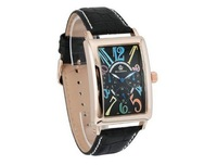 ORKINA Rose Gold Leather Five-pin Multi-calendar Personality Casual Men's Watches